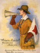 "Vintage War Poster ""Women awake! Your country needs you--Learn to be of national service."""